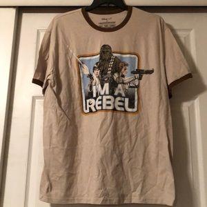 Disney Store XXL Star Wars I am a Rebel tan tee